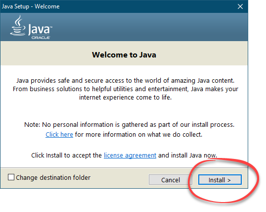 Кнопка установки Java