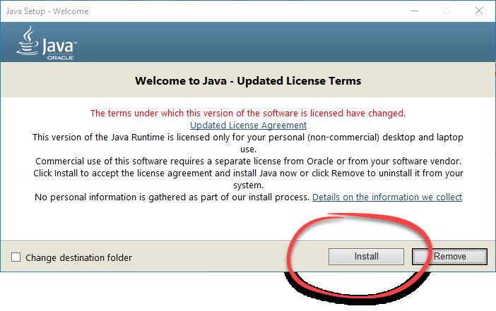 Кнопка установки Java для ПК
