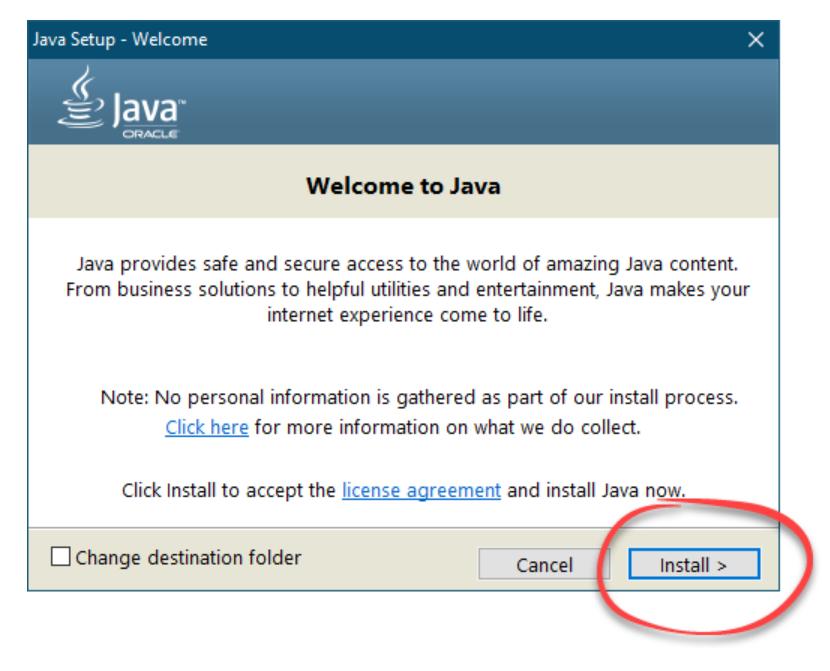 Кнопка установки Java для работы GID-Launcher