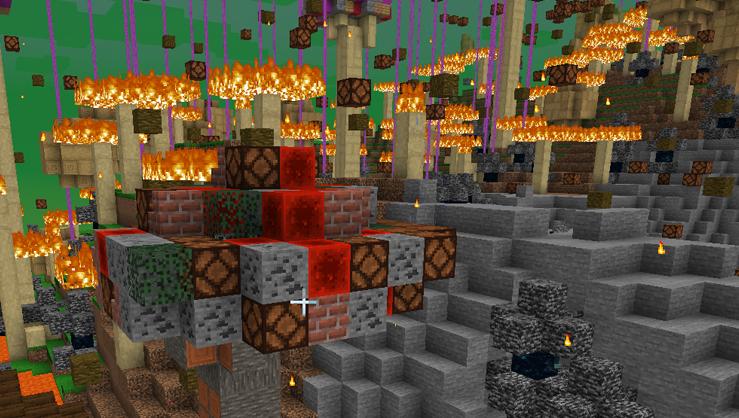 Огонь в измерении Майнкрафт версии 20w14infinite
