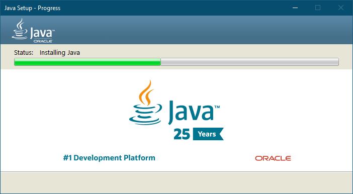 ПРоцесс установки Java на компьютер