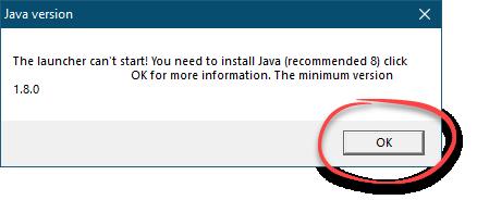 Предупреждение об отсутствии Java при запуске TLauncher для Minecraft
