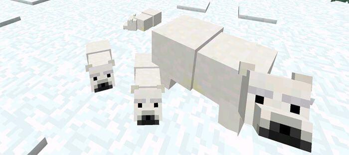 Мод на белых медведей для Minecraft PE 0.14.1